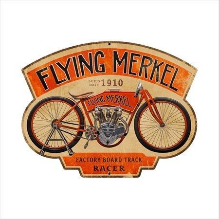 Past Time Signs FRC049 Flying Merkel Motorcycle Custom Metal Shape -
