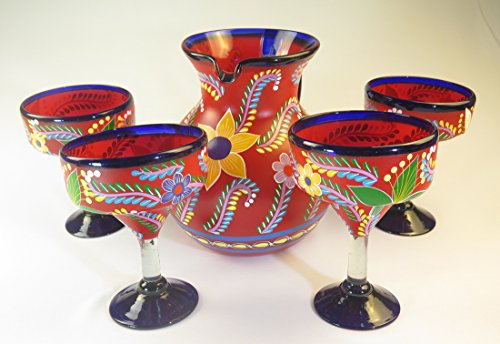 Hand Painted Glass Pitcher (Mexican Margarita Glasses and Pitcher, Hand Blown, Hand Painted, Red with various flowers, 14 Oz,Set of)