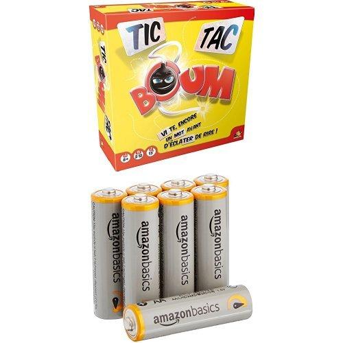 Asmodée - TTB01S - Tic Tac Boum + Piles AA AmazonBasics - Jeu d'Ambiance