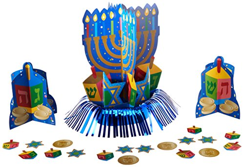 Amscan Joyous Hanukkah Festival Menorah Table Decorating Kit (4 Piece), Blue, One Size (Menorah Paper)