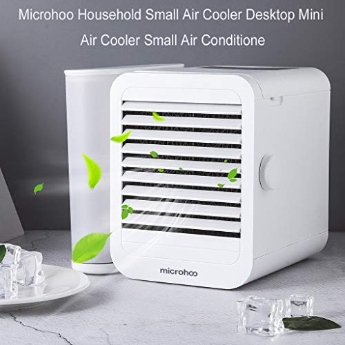 Gotian Microhoo Household Small Air Cooler Desktop Mini Air Cooler Small Air Conditione, Enjoy Cool, Clean Air, Great for Dens, Reading Nooks, Work, Dorm Rooms, Offices, Home Offices, Campers ()