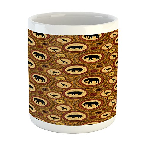 Zambia Mug by Ambesonne, African Ethnic Animals Elephant Camel Giraffe Lion Ethnic Graphic Print, Printed Ceramic Coffee Mug Water Tea Drinks Cup, Ginger Cinnamon Black