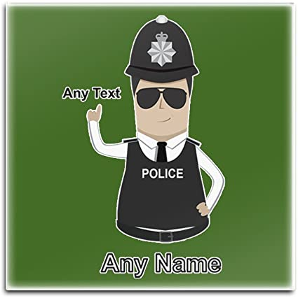 Personalised Gift Police Constable Sergeant Square Gloss Coaster Police Design Colour Any Name Message Unique Mat