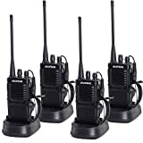 Nestling R-7 Two Way Radio Long Range UHF 400-470MHz Signal Frequency Single Band 16 CH Walkie Talkies with Original Earpiece (4 Pack)