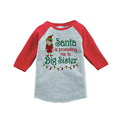 Custom Party Shop Kids Big Sister Christmas Raglan Shirt Red 2T