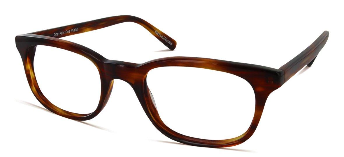 Benji Frank Taylor New Designer Style Small Eyeglasses Blue Tortoise Color Frame Lunettes Specs (Amber)