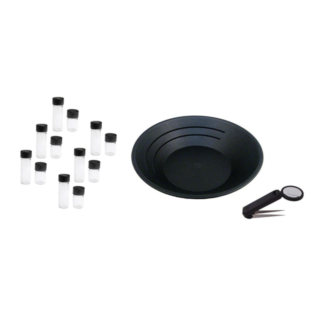 ASR Outdoor Gold Panning Combo 12 Vials | 10 Inch Gold Pan | 4x Magnifying Tweezer