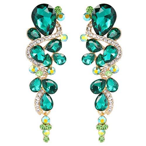 Emerald Green Chandelier - BriLove Women's Wedding Bridal Dangle Earrings Bohemian Boho Crystal Multiple Teardrop Chandelier Long Earrings Gold-Toned Emerald Color