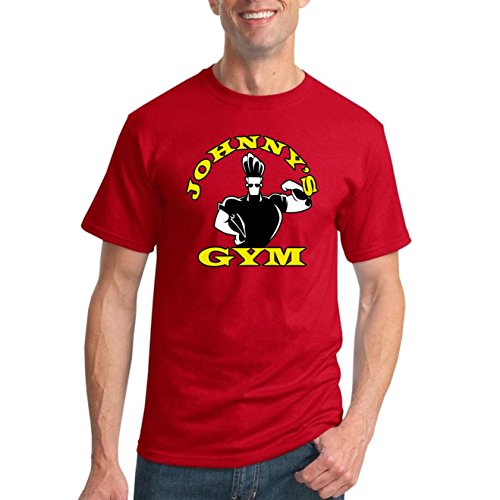 Johnny's Gym Cartoon Parody | Mens Gym/Workout Graphic T-Shirt, Red, X-Large
