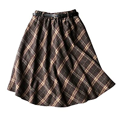 Lentta Women's Vintage Woolen Blend Elastic Waist Tartan Plaid Mid Skirt Belt