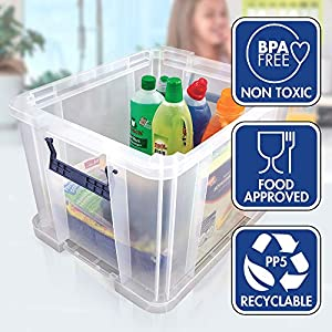 3 Bankers Box ProStore Plastic Storage Boxes With Lids, 36 Litre (Int. Dimensions 30 x 37 x 31 cm)