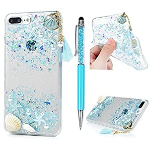 YOKIRIN iPhone 7 Plus Case, iPhone 8 Plus Case, Beach Starfish Shower Seashell Design Transparent Clear Soft Flexible Gel Silicone TPU Bumper Slim Fit Shockproof Protective Cover with Stylus - Blue