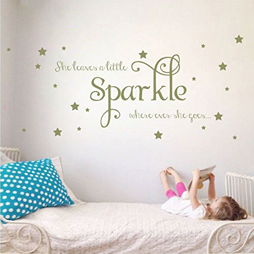 She Leaves a Little Sparkle Girls Room Vinyl Wall Decal Sticker Inspirational Quote with Stars (Olive, 15x36 inches)