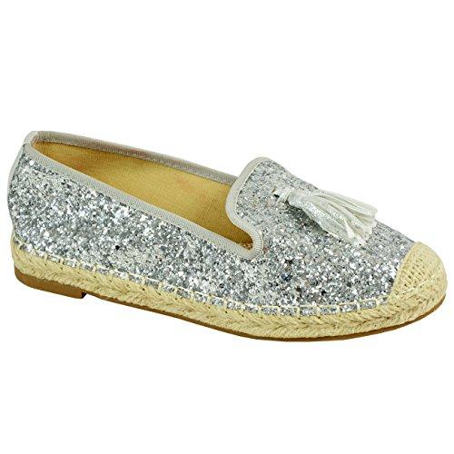 Dames Des Femmes Des Slip Sparkle Paillettes Espadrille Sur Des Appartements Ballerines Chaussures Franges D'argent