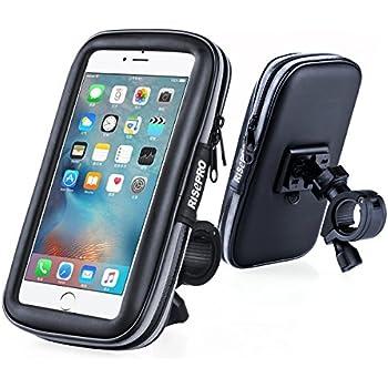 Bike Phone Mount, RISEPRO Waterproof Universal Case Bicycle & Motorcycle Mount Cradle Holder Dust Rain Snow Resistant for Smart Phone 5.7' iPhone 6 6S, 7, 7 plus