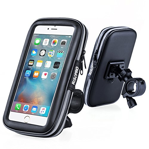 Bike Phone Mount, RISEPRO Waterproof Universal Case Bicycle & Motorcycle Mount Cradle Holder Dust Rain Snow Resistant for Smart Phone 5.7' iPhone 6 6S, 7, 7 plus (Waterproof Bike Mount)