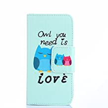 ihpone 6 Case,Hankuke Art Graphic PU Leather Magnet Flip Case with Kickstand and Card Holder for iPhone 6 (4.7-Inch) (owl)