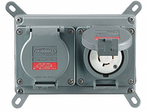 Hubbell Wiring Device-KELLEMS Gray Duplex Locking Receptacle, 20 Amps, 125VAC Voltage, NEMA Configuration: L5-15R