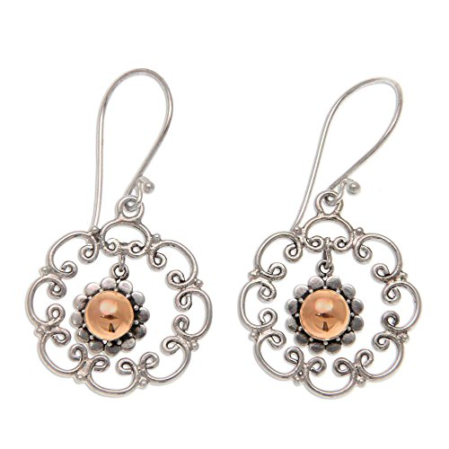 NOVICA .925 Sterling Silver Dangle Earrings with Yellow Gold Plated Accents, Delightful Denpasar' ()