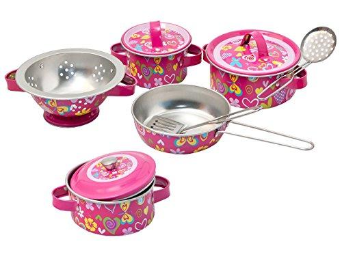 10 tlg. Kochset - Topfset aus Metall incl. Küchenhelfer - Geschirr - Spiel Set Kochgeschirr - Küche Zubehör Koffer - Kindergeschirr - Töpfe Kochtopf für Kinder - Puppengeschirr - Kindertöpfe Kochtöpfe - rosa für Mädchen - Kochtopfset
