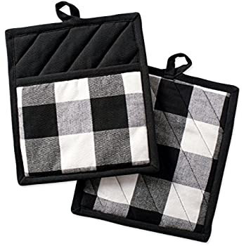 DII Buffalo Check Plaid Pot Holders with Pocket, , Black & White, (Set of 2), 9