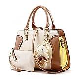 Desklets Women's 2 Piece Cute Bear Lovely Tote Bags Top Handle Handbag (Brown)