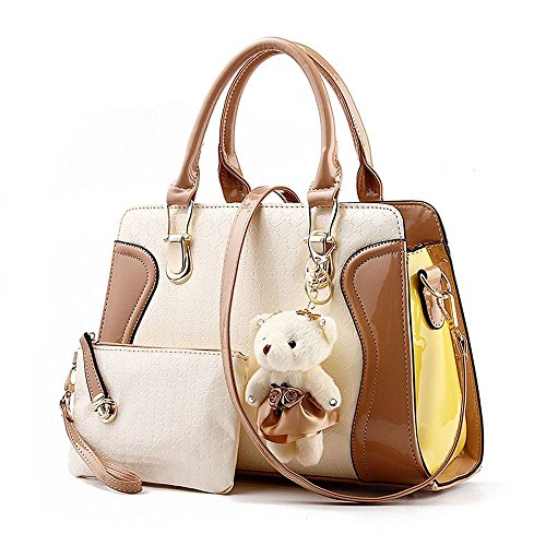 Desklets Women's 2 Piece Cute Bear Lovely Tote Bags Top Handle Handbag (Brown)