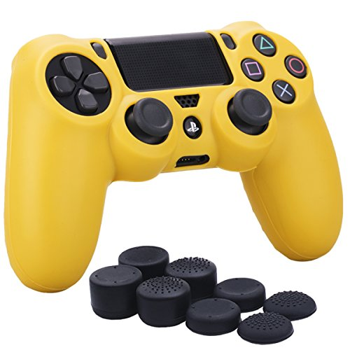 YoRHa Silicone Cover Skin Case for Sony PS4/slim/Pro controller x 1(yellow) With Pro thumb grips x 8