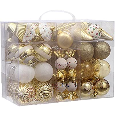 Sea Team 81-Pack Assorted Shatterproof Christmas Ball Ornaments Set Decorative Baubles Pendants with Reusable Hand-held Gift Package for Xmas Tree