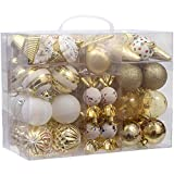 Sea Team 80-Pack Assorted Shatterproof Christmas Ball Ornaments Set Decorative Baubles Pendants with Reusable Hand-held Gift Package for Xmas Tree (Gold)