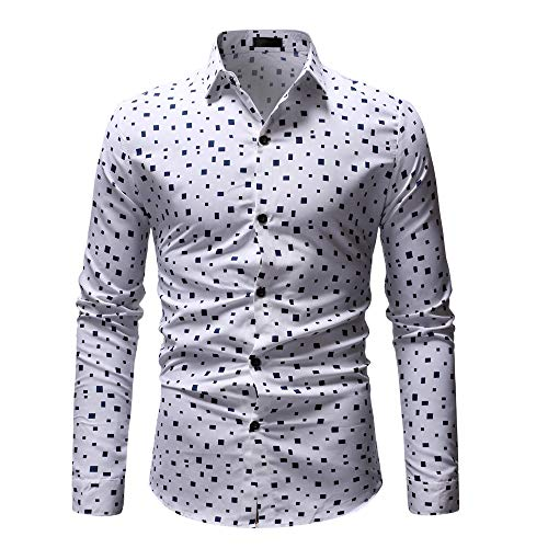 Sunhusing Fashion Men's Cmall Cube Pattern Printed Tops Casual Lapel Collar Long Sleeve Shirt - Tropical Wool Pencil Skirt