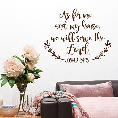 As For Me and My House We Will Serve the Lord Bible Verse Wall Decal- Joshua 24:15 Scripture Vinyl Sticker- Christian Home Wall Decor (Black,29X36 Inch)