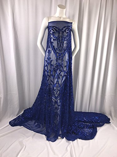 ROYAL BLUE STRETCH MESH W/ROYAL SEQUIN EMBROIDERY LACE FABRIC 52