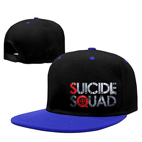 Custom Unisex-Adult Suicide S Squad Horror Movie Logo Adjustable Baseball CapHat RoyalBlue (Wimpy Adult Costume)