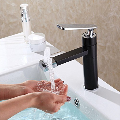 Lpophy Bathroom Sink Mixer Taps Faucet Bath Waterfall Cold and Hot Water Tap for Washroom Bathroom and Kitchen Single Handle Hot and Cold Black redating Single Hole