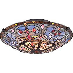 Quoizel TF1805SVB 2-Light Tiffany Flush Mount in Vintage Bronze