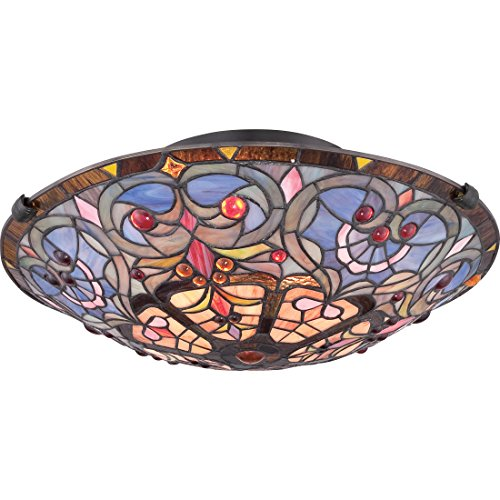 Quoizel TF1805SVB Carroll Tiffany Flush Mount Ceiling Lighting, 2-Light, 150 Watts, Vintage Bronze (6