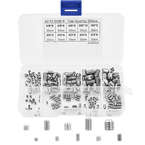200pcs M3 M4 M5 M6 M8 Hex Grub Screw Allen Head Socket Cup Point Set Screw 304 Stainless Steel Assortment Fasteners Kits