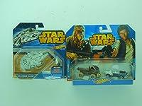 Hot Wheels Star Wars-Millennium Falcon & Han Solo &Chewbacca vehicles.
