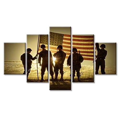 VIIVEI USA American Flag Military Canvas Prints Wall Art Independence Day Modern Thin Blue Line Home Decor Pictures for Living Room 5 Panel Large Poster Painting Framed Ready to Hang (60