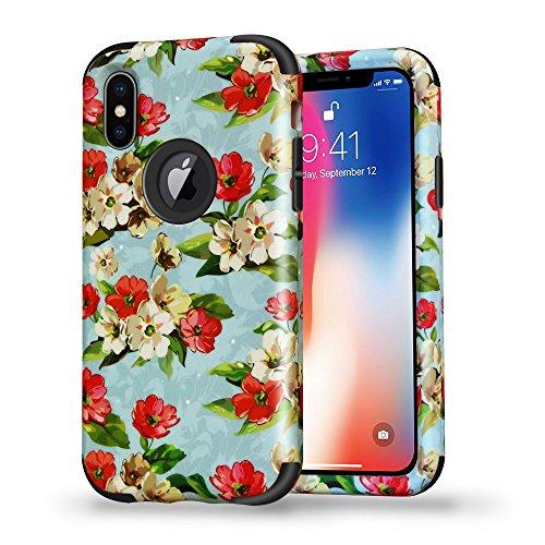 iPhone X Flower Design Case, SUMOON Hard PC Back Cover Anti-Scratch Anti-Fingerprint & Soft Silicone Frame Bumper Durable 3 in 1 Pretty Fashion Design Girls Case for Apple iPhone X (Jasmine Black)