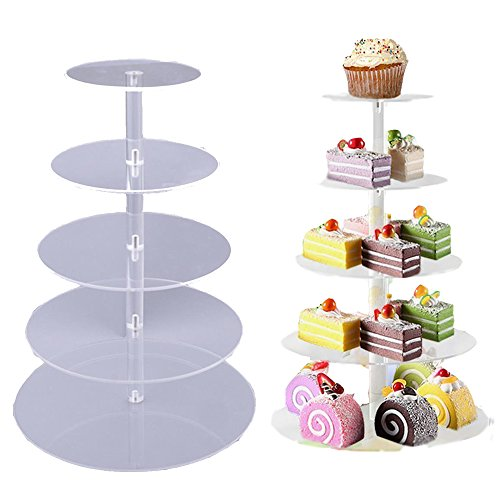 - Meflying 5 Tier Cupcake Stand, Crystal Clear Acrylic Cupcake Display Stand Round Tower Cupcake Dessert Display Stand (US Stock) (5 Tier)