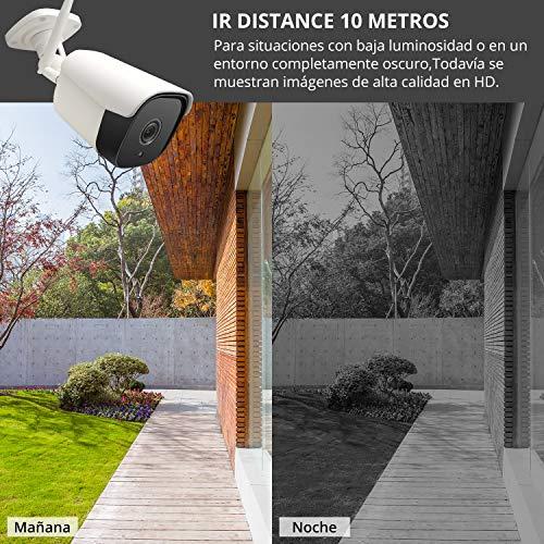 SMTALY C2 Cámara IP Exterior, 1080P IP66 Impermeable, 36 LEDs IR Visión Nocturna, Audio Bidireccional, Detección de Movimiento para Hogar/Baby...