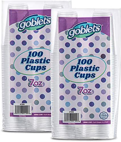 200 Count 7 oz Disposable Clear Plastic Drinking Cups, Stackable, Great For Home, Office, Parties, Events, Wedding reception, Or Everyday Use, 2 Packs By Goblets