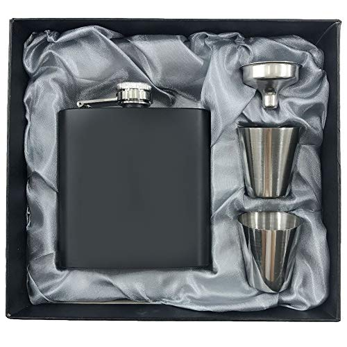 Hip Flasks for Liquor Stainless Steel Flask & Funnel Set, 6 Oz (304/18-8 SS). Pocket Hip Flask Leak Proof Tested. Flasks for Liquor/Alcohol. Flask for Men/Women.Great Gift Option ()