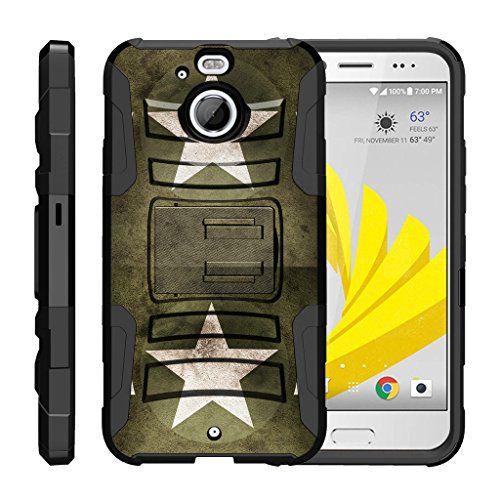 TurtleArmor | HTC Bolt Case | HTC 10 Evo Case [Hyper Shock] Rugged Hybrid Shell Kickstand Case Holster Belt Clip Robot Military War Army Design - Military Stars (Lte Case 4g Girls Htc For Evo)