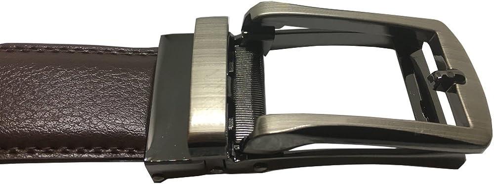 Mens Dress Belt Leather Ratchet Automatic Slide Buckle Custom Fit 28-44 Waist