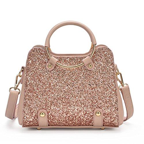 14a44c80b5 Montmo PU Leather Sequin Design Messenger Cross Shoulder Bag Handbag For Women  Girl (PinK)