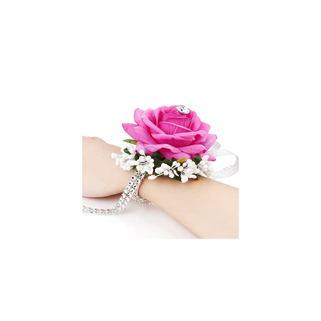 FAYBOX-Flannel-Open-Rose-Silvery-Bling-Ribbon-Rhinestone-Stretch-Bracelet-Wedding-Prom-Wrist-Corsage-Hand-Flower