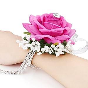 FAYBOX Flannel Open Rose Silvery Bling Ribbon Rhinestone Stretch Bracelet Wedding Prom Wrist Corsage Hand Flower 2